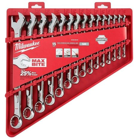 Milwaukee 48229415 15 Piece Imperial Combination Spanner Set