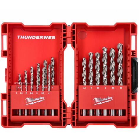 Milwaukee 4932352374 Thunderweb HSS-G 19 Piece Ground Metal Drill Bit Set