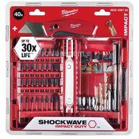 Milwaukee 4932459763 Juego de 40 unidades de brocas Shockwave Impact Duty en maletín incluyendo cutter FastBack