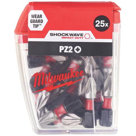 "main image of ""Milwaukee 4932472041 Shockwave PZ2 Bits 25 x 25MM - PZ2 Bits"""