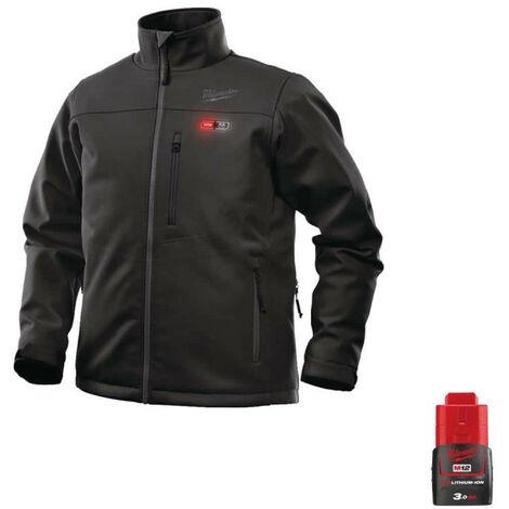 Milwaukee Black Heating Jacket M12 HJBL4-0 Size S 4933464322 - Battery M12 12V 3.0Ah