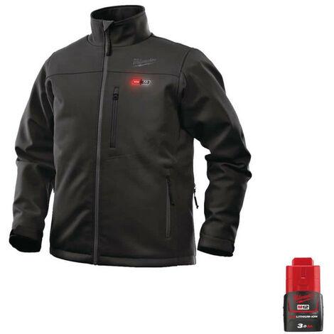 Milwaukee Black Heating Jacket M12 HJBL4-0 Size XXL 4933464326 - Battery M12 12V 3.0Ah