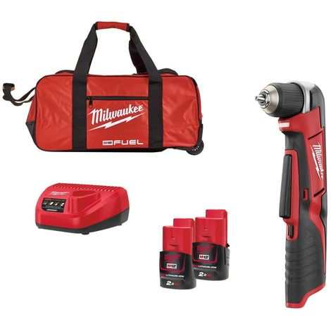 MILWAUKEE C12 RAD-202B Angle Drill Driver - 2 Li-Ion 2.0 Ah Batteries - 1 Charger 4933441215