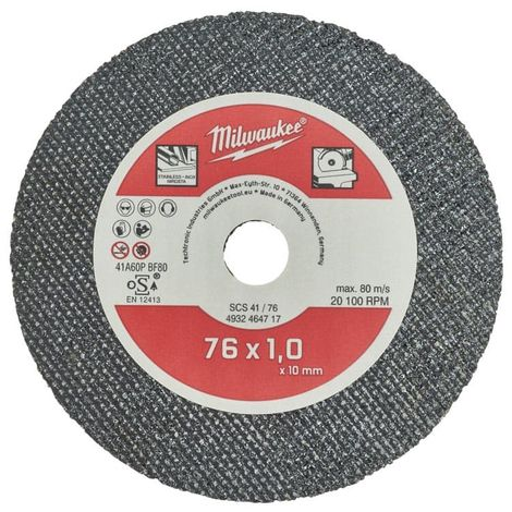 MILWAUKEE Fine Cutting Disc For Steel - 76 mm - 5 pcs - SCS 41-76 - 4932464717