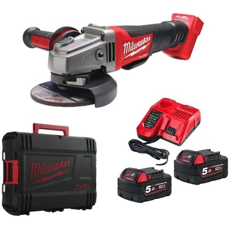 MILWAUKEE FUEL M18 angle grinder CAG125XPDB-502X - 2 battery 18V 5.0Ah - 1 charger M12-18FC 4933451544