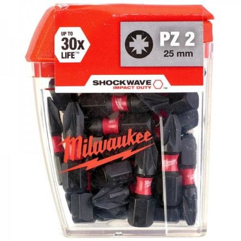 MILWAUKEE GEN2 PZ2 X 25MM IMPACT BITS - PK25