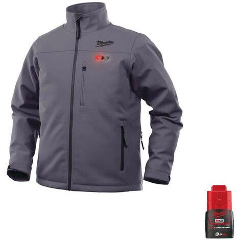 Milwaukee Gray M12 Heating Jacket HJGREY4-0 Size S 4933464328 - Battery M12 12V 3.0Ah