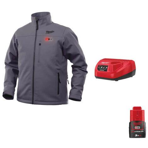 Milwaukee Gray M12 HJGREY4-0 Heat Jacket Size XXL 4933464332 - 12V M12 C12 C Battery Charger - M12 12V 3.0Ah Battery