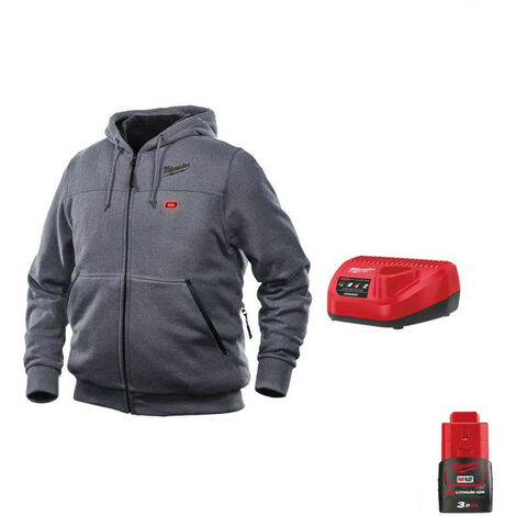 Milwaukee Gray M12 Warming Sweatshirt HHGREY3-0 Size L 4933464354 - 12V M12 C12 C Battery Charger - M12 12V 3.0Ah Batter