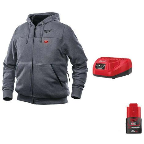 Milwaukee Gray M12 Warming Sweatshirt HHGREY3-0 Size XXL 4933464356 - 12V M12 C12 C Battery Charger - M12 12V 3.0Ah Batt