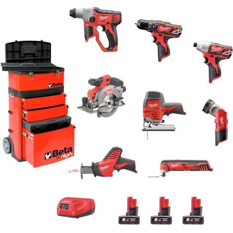 Milwaukee Kit BWK128AT3 (M12TLED+C12HZ+M12BPD+M12BID+M12JS+M12CCS44+M12CH+C12MT+3 x 6,0Ah+C12C+Carro BETA C41H Rojo)