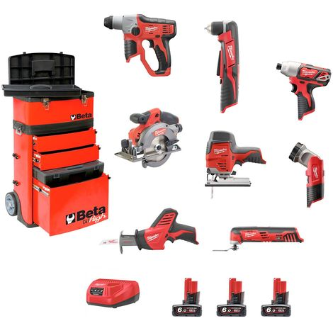 Milwaukee Kit BWK128BT3 (M12TLED+C12HZ+M12BID+C12RAD+M12JS+M12CCS44+M12CH+C12MT+3 x 6,0Ah+C12C+Carro BETA C41H Rojo)