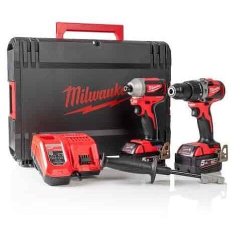Milwaukee Kit M18BLPP2A2-502X (M18BLPD2 M18BLID2 2 x 5,0 Ah M12-18FC Coffret)