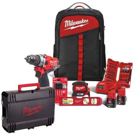 MILWAUKEE Kit perceuse visseuse 12V 2Ah M12 FPD-202BA - 4933471382