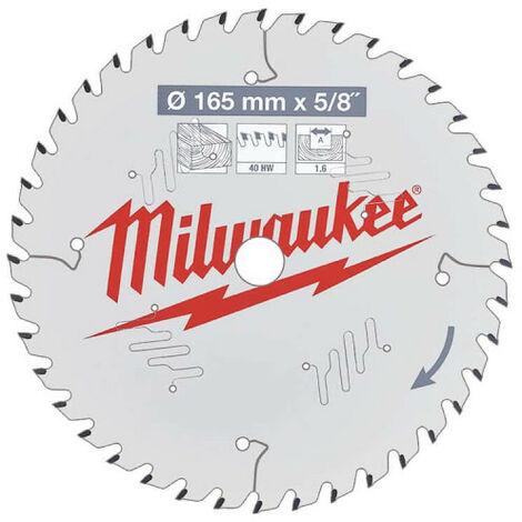 MILWAUKEE Lame de scie circulaire bois 165x15.87x1.6x40 alternée