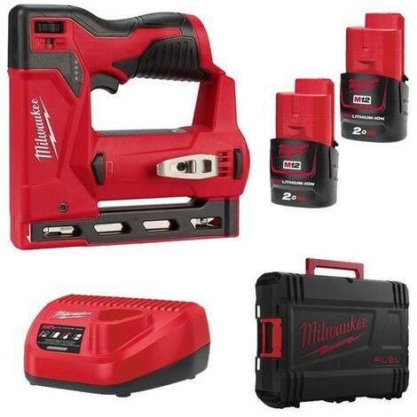Milwaukee M12 BST-202X Set d'agrafeuse Li-ion 12V (2 x 2,0 Ah d'accu) en boîte HD - 6-14mm