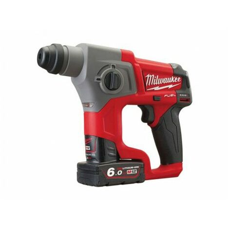 Milwaukee M12 CH-602X 12V Li-Ion Set SDS-plus martillo perforador a batería (2 baterías de 6.0 amperios) en HD Box - 1,1J - sín escobillas de carbon