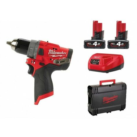 Milwaukee M12 FPD-402X Perceuse visseuse à percussion à batteries 12V Li-Ion (2x batterie 4,0Ah) dans HD Box - moteur sans charbon