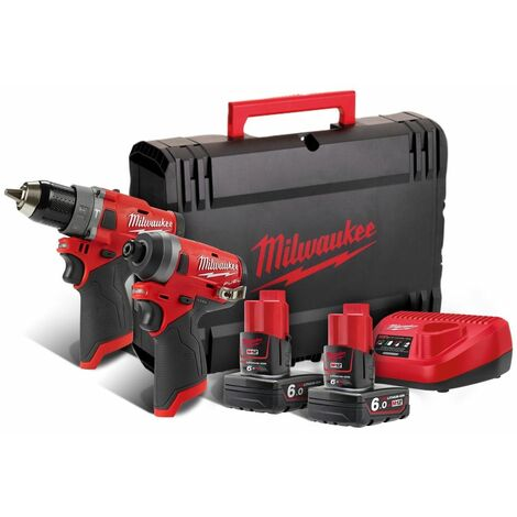 Milwaukee M12 FPP2A-602X Perceuse visseuse à percussion (M12 FPD) & Visseuse à chocs (M12 FID) à batteries 12V Li-Ion (2x batterie 6,0Ah) dans HD Box
