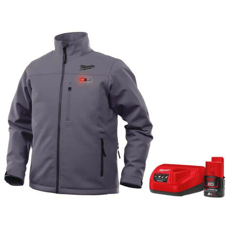 Milwaukee M12 HJ GREY3-0 gray heated jacket size M 4933451592 - M12 2.0Ah battery and C12C charger 4933451900