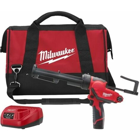 Milwaukee M12 PCG/310C-201B 12V Litio-Ion Batería Juego de pegamento y kit de pulverizador (1x batería de 2.0 Ah) con soporte para tubo en bolso