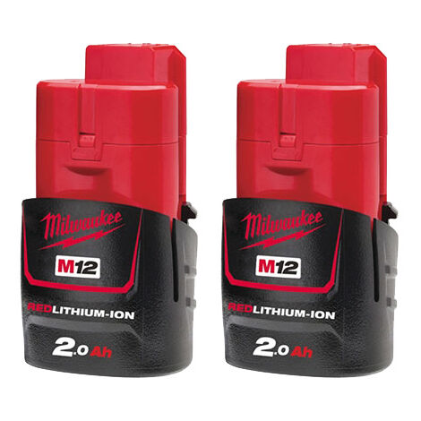 "main image of ""Milwaukee M12B2 12v 2 x 2.0Ah Red Lithium-Ion Battery - M12B5X2"""