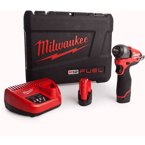 """main image of """"Milwaukee M12BIW14-202C Sub Compact 12V 1/4in Impact Wrench Kit With 2 x 2.0Ah Batteries & Charger in Case 4933443897:12V"""""""
