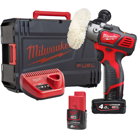 Milwaukee M12BPS-421X 12V Compact Polisher/Sander with 1x2.0Ah and 1x4.0h Battery & Charger in Case:12V