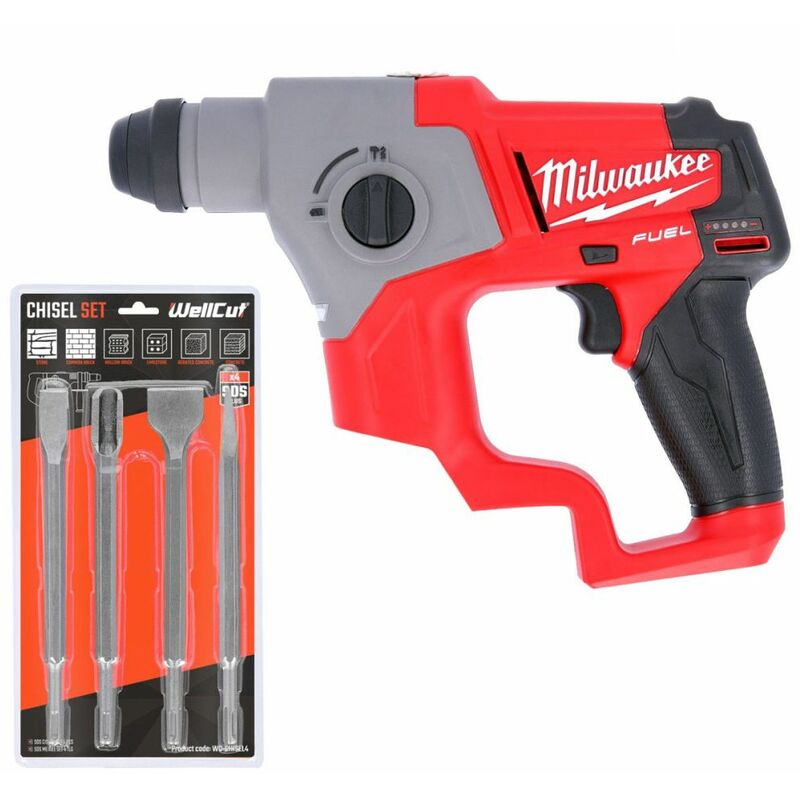 Milwaukee M12CH-0 12V Fuel SDS Plus Rotary Hammer Drill With 4 Piece SDS Chisel Set