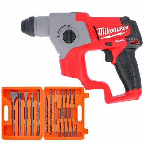 Milwaukee M12CH 12V Fuel SDS Plus Rotary Hammer Drill With 17 Piece SDS Drill Bit Set