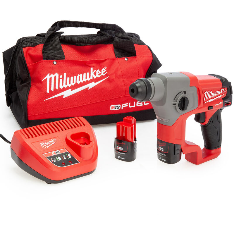 Milwaukee M12CH-202B 12V Compact SDS Hammer Drill with 2 x 2.0Ah Battery & Charger:12V