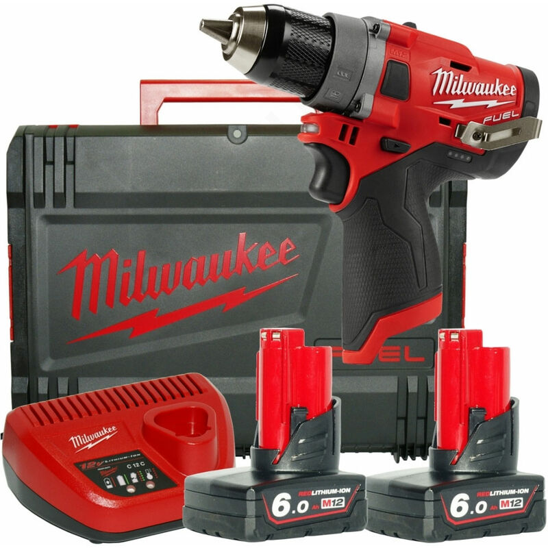 Milwaukee M12FDD-602X 12V FUEL Drill Driver with 2 x 6.0Ah Battery Charger & HD Box:12V