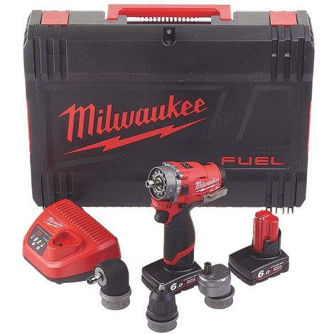 Milwaukee M12FPDXKIT-602X 6-in-1 Percussion Drill Driver, x2 6Ah Batteries, Charger & Case