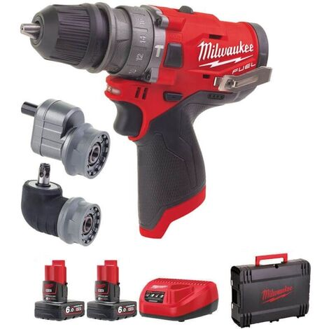 """main image of """"Milwaukee M12FPDXKIT-602X M12 12V Compact Percussion Drill (Removable Chuck & 2 x 6.0Ah RedLithium-Ion Batteries)"""""""
