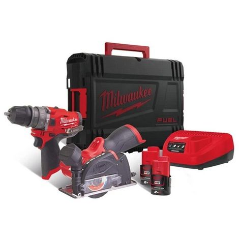 Milwaukee M12FPP2G-202X 12v Combi Kit/Cut-off Saw 2x2ah Batteries