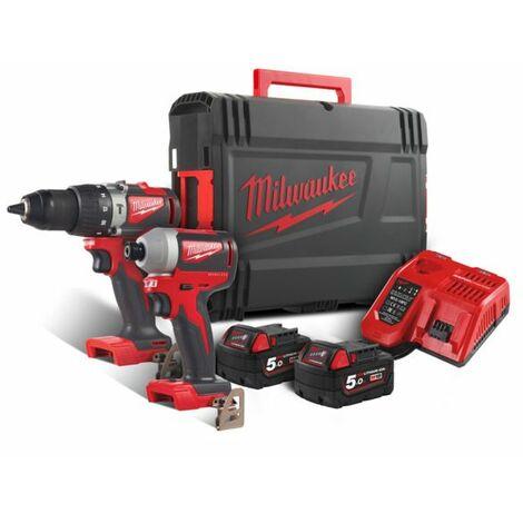 Milwaukee M18 BLPP2A2-502X 18V Litio-Ion batería Taladro de impacto / destornillador (M18 BLPD2)