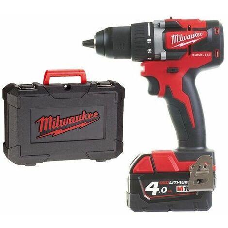 Milwaukee M18 CBLDD-402C Juego de taladro / destornillador de batería de ión de litio de 18 V (2x 4.0Ah batería) en estuche - carbón sin escobillas