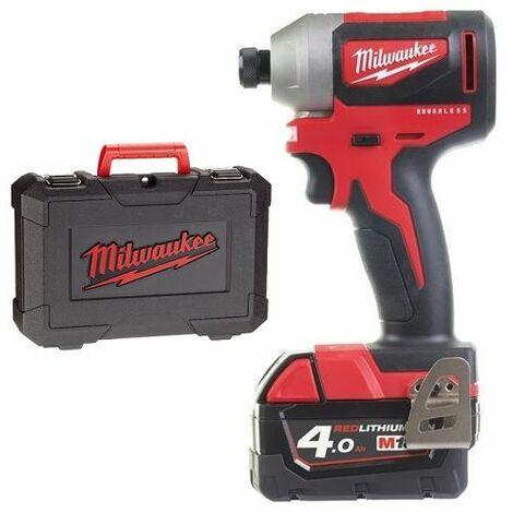 Milwaukee M18 CBLID-402C Juego de destornilladores de impacto de batería de ión de litio de 18 V (batería 2x 4.0Ah) en estuche - carbón sin escobillas