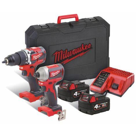 Milwaukee M18 CBLPP2A-402C 18V Li-Ion Taladro/atornillador(M18 CBLPD-0) & Destornillador de impacto (M18 CBLID-0) & (2 baterías de 4.0 Ah) en maletín