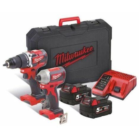 MILWAUKEE M18 CBLPP2B-502C Pack 2 outils compact brushless 18V (1x Perceuse-visseuse, 1x Visseuse a Chocs)