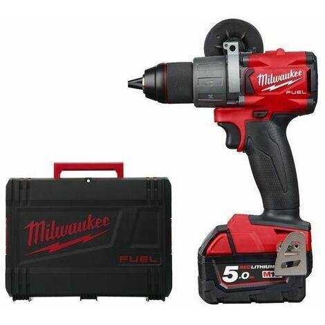 Milwaukee M18 FDD2-502X Juego de taladro / destornillador de batería de ión de litio de 18 V (2x 5.0Ah batería) en caja HD - sin escobillas de carbón