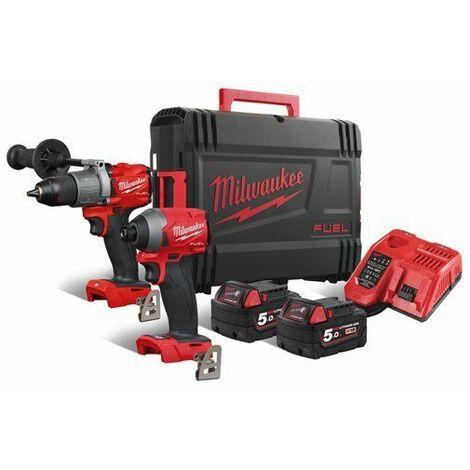 Milwaukee M18 FPP2A2-502X - Kit de herramientas 18V - Taladro percutor M18FPD2 + Atornillador de impacto M18 FID2 - Baterías y cargador