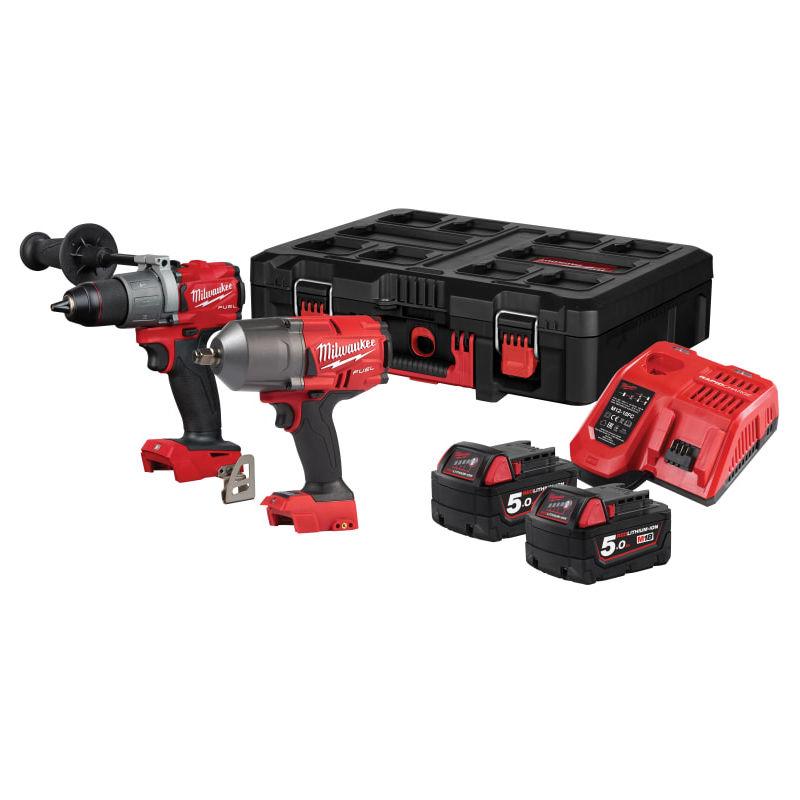 Image of Milwaukee Power Tools - Milwaukee M18 FPP2I2-502P FUEL™ Powerpack Twin Pack 18V 2 x 5.0Ah Li-ion