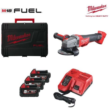 MILWAUKEE M18 FUEL CAG125XPDB-503X angle grinder M18 CAG125XPDB - 3 batteries 5.0Ah - 1 fast charger 4933471280