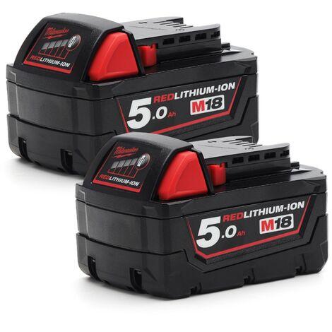Milwaukee M18 M18B5 Red Lithium-Ion Battery 2 x 5.0Ah set - 2-M18B5