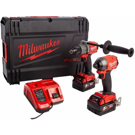 Milwaukee M18 ONEPP2A2-502X 18V M18 Fuel One Key Twin Pack With 2 x 5.0Ah Batteries 4933464530:18V