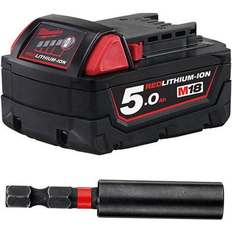 Milwaukee M18B5 18V 5.0ah Li-On Battery + 4932430478 60mm Magnetic Bit Holder