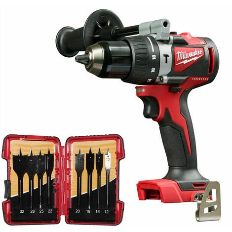 Milwaukee M18BLPD2-0 Brushless Combi Drill with 8 Piece Flat Drill Bit Set