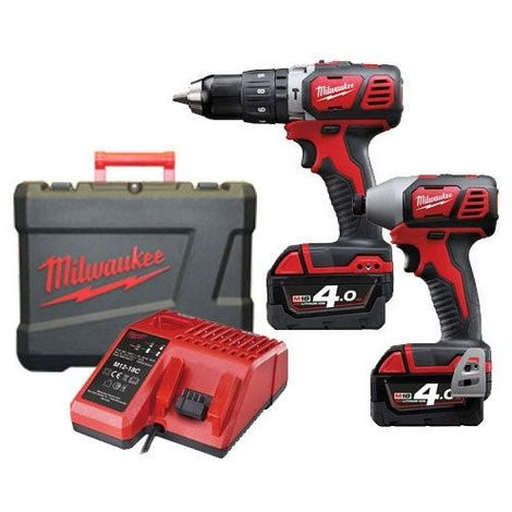 Milwaukee M18BPP2C-402C 18V Compact Impact Driver and Combi Drill Twinpack with 2 x 4.0Ah Batteries