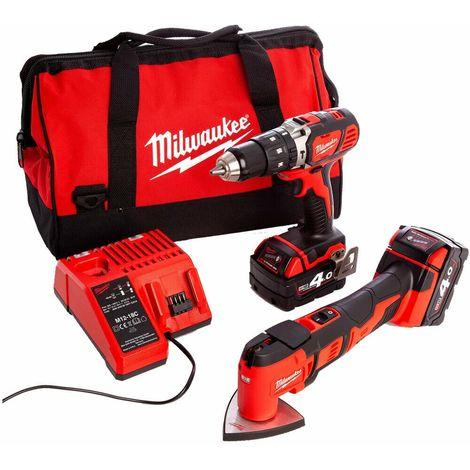 Milwaukee M18BPP2P-402B 18V Combi Drill & Multi Tool Kit
